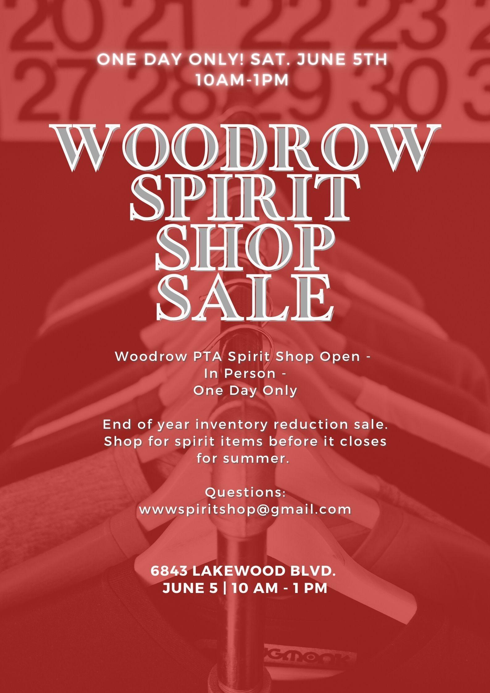 Woodrow Spirit Shop Sale June 5